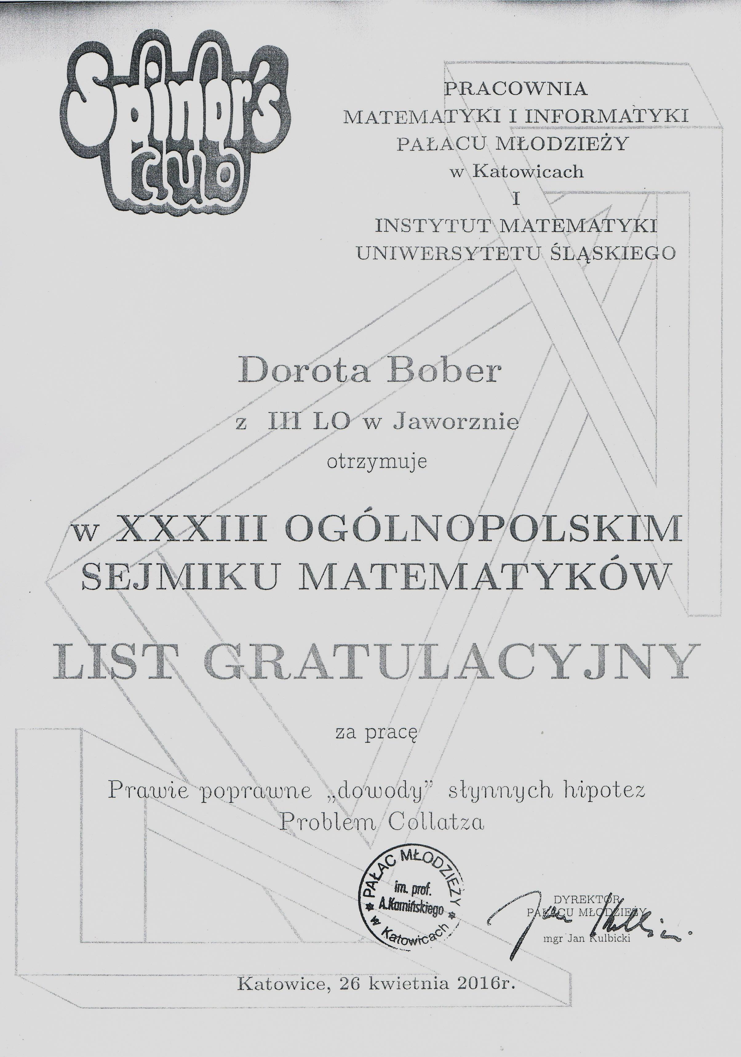 XXXIII Ogólnopolski Sejmik Matematyków