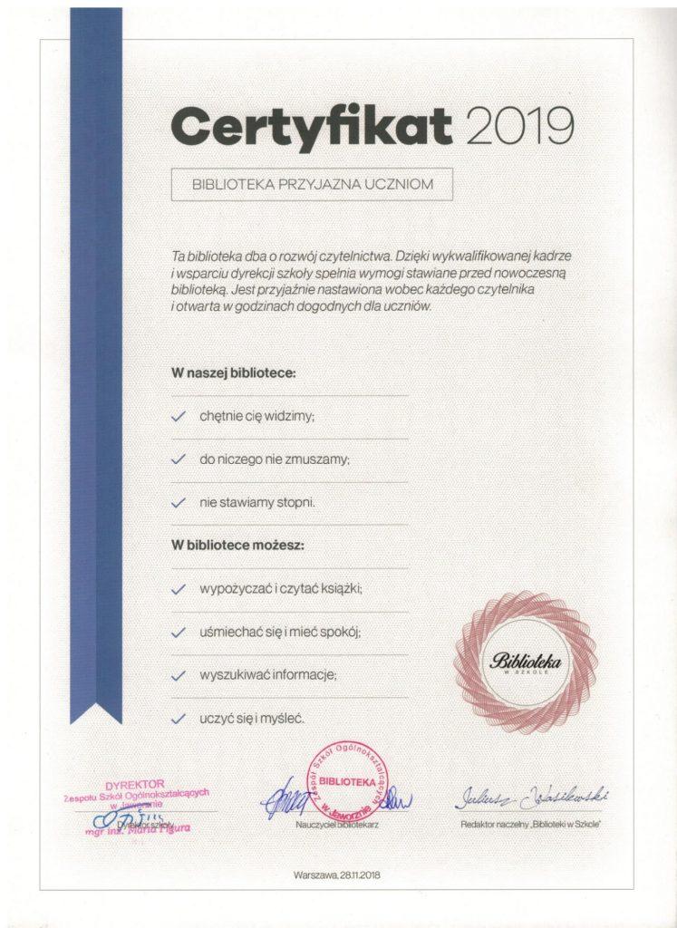 Certyfikat BWSZ 2019